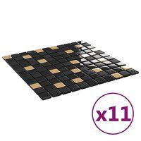vidaXL Selvklebende mosaikkfliser 11 stk svart og gull 30x30 cm glass