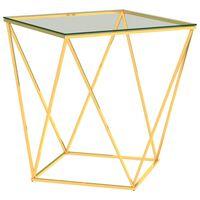 vidaXL Salongbord gull og gjennomsiktig 50x50x55 cm rustfritt stål