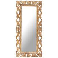 vidaXL Håndskåret speil brun 110x50 cm heltre mango