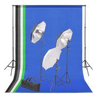 vidaXL Fotostudiosett med bakgrunn og belysningssett