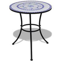 vidaXL Bistrobord blå og hvit 60 cm mosaikk