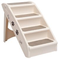vidaXL Hundetrapp sammenleggbar kremhvit 62x40x49,5 cm
