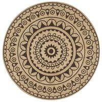 vidaXL Håndlaget juteteppe med mørkebrunt mønster 150 cm