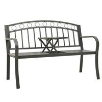 vidaXL Hagebenk med bord 125 cm stål grå