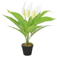 vidaXL Kunstig plante flamingoblomst med potte hvit 55 cm