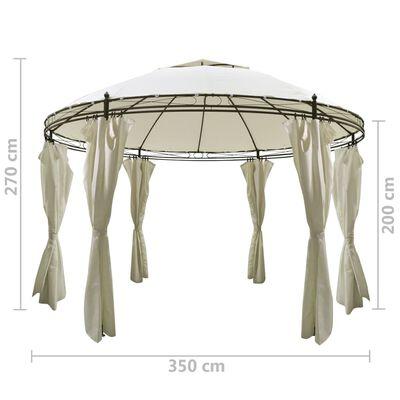 vidaXL Rund paviljong med gardiner 3,5 x 2,7 m