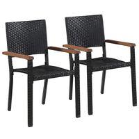 vidaXL Utendørs spisestoler 2 stk polyrotting svart