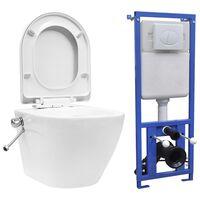 vidaXL Veggmontert toalett med skjult sisterne kantfri keramikk hvit