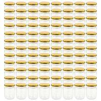 vidaXL Syltetøyglass med gult lokk 96 stk 230 ml