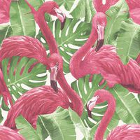 Noordwand Veggtapet Flamingo and Monstera rosa