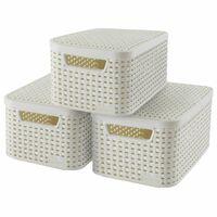 Curver Style Oppbevaringsboks med lokk 3 stk størrelse S hvit 240586