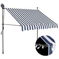 vidaXL Manuell uttrekkbar markise med LED 150 cm blå og hvit
