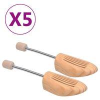 vidaXL Skotrær 5 par størrelse 38-39 heltre furu