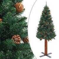vidaXL Slankt juletre med ekte tre og furukongler grønn 180 cm PVC