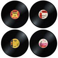 4x Bordbrikker - Vinylplater