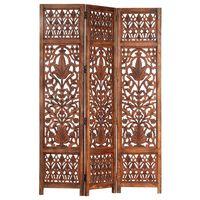 vidaXL Romdeler håndskåret 3 paneler brun 120x165 cm heltre mango