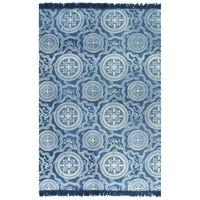 vidaXL Gulvsteppe kilim-vevet bomull med mønster 160x230 cm blå