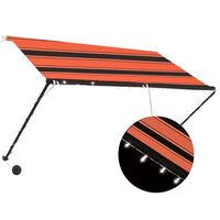 vidaXL Uttrekkbar markise med LED 250x150 cm oransje og brun