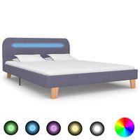 vidaXL Sengeramme med LED lysegrå stoff 135x190 cm
