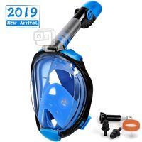 Full ansiktsmaske med snorkel og GoPro-feste - svart / blå - L / XL