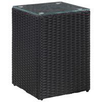 vidaXL Sidebord med glasstopp svart 35x35x52 cm polyrotting