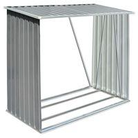 vidaXL Vedskjul galvanisert stål 163x83x154 cm grå