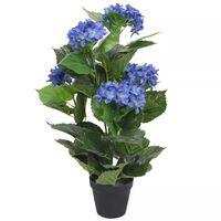 vidaXL Kunstig hortensia med potte 60 cm blå