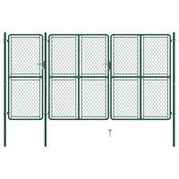 vidaXL Hageport stål 150x395 cm grønn