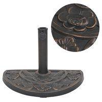 vidaXL Parasollfot harpiks halvsirkel bronse 9 kg