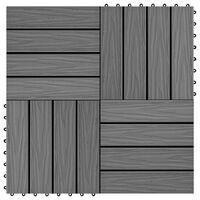 vidaXL Terrassebord 11 stk dyppreget WPC 30x30 cm 1 kvm grå