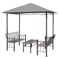 vidaXL Hagepaviljong med bord og benker 2,5x1,5x2,4 m antrasitt