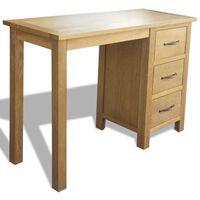 vidaXL Skrivebord med 3 skuffer 106x40x75 cm heltre eik