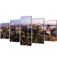 Kanvas Flerdelt Veggdekorasjon New York Fugleperspektiv 100 x 50 cm