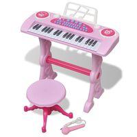 vidaXL Barnekeyboard med krakk/mikrofon 37 tangenter rosa