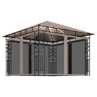 vidaXL Paviljong med myggnett og lysslynge 3x3x2,73 m gråbrun 180 g/m²