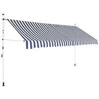 vidaXL Manuell uttrekkbar markise 350 cm blå og hvite striper
