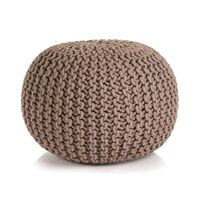 vidaXL Håndstrikket puff bomull 50x35 cm brun
