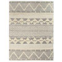 vidaXL Håndvevd teppe ull 80x150 cm hvit/grå/svart/brun
