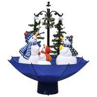 vidaXL Kunstig juletre med snø og paraplyfot blå 75 cm PVC