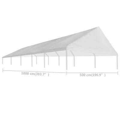 vidaXL Tak til festtelt 5 x 10 m hvit