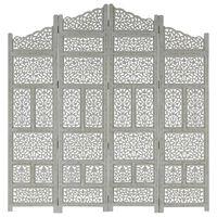 vidaXL Romdeler håndskåret 4 paneler grå 160x165 cm heltre mango