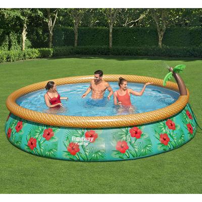 Bestway Oppblåsbart svømmebasseng med palme 457x84 cm