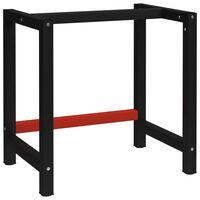 vidaXL Ramme til arbeidsbenk 80x57x79 cm svart og rød