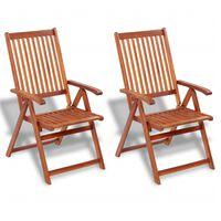vidaXL Sammenleggbare stoler 2 stk heltre akasie brun