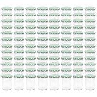 vidaXL Syltetøyglass med hvite og grønne lokk 96 stk 400 ml