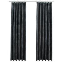 vidaXL Lystette gardiner med kroker 2 stk fløyel antrasitt 140x175 cm