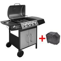 vidaXL Gassgrill 4+1 kokesone svart og sølv