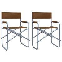 vidaXL Regissørstoler 2 stk stål brun