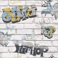 Urban Friends & Coffee Veggtapet graffiti grå og blå