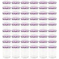 vidaXL Syltetøyglass med hvite og lilla lokk 48 stk 400 ml